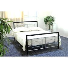 Twin Size Metal Platform Bed Frame In Black And Silver W Headboard ...