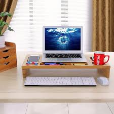 mics bamboo monitor stand riser with storage organizer laptop cellphone tv printer stand desktop container ulld201 com