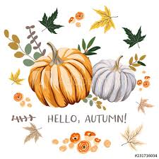 Hello Autumn Design Template Print With Orange Gray