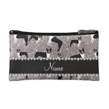 custom name silver glitter boston terrier makeup bag