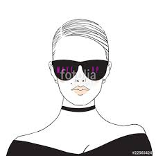 Glamour Fashion Beauty Woman Face Illustration In Ink Style Vector