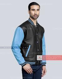 sky blue custom leather varsity jacket front side