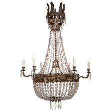 large early 19th century italian repoussé and crystal chandelier for