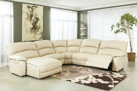 l shaped ivory leather power reclining sectional for living room furniture idea