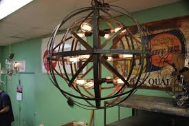 industrial sphere chandelier metal strap globe hanging light