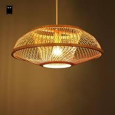 shade pendant lighting. Bamboo Wicker Rattan Embryo Shade Pendant Light Fixture Country Retro Vintage Hanging Lamp Plafon Design Dining Lighting