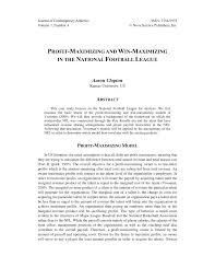 PDF) PROFIT-MAXIMIZING AND WIN-MAXIMIZING IN THE NATIONAL FOOTBALL LEAGUE