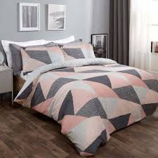 textured geometric duvet set blush