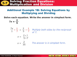 5 7 solving fraction equations multiplication and division additional example 1b solving equations