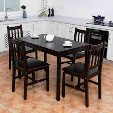 Solid Rubberwood 5 Piece Dining Set 1 Table 4 Chairs Painted Sage