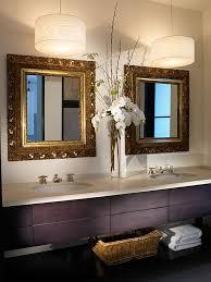 pendant lighting bathroom vanity. Best Pendant Lighting Bathroom Vanity For Awesome Nuance : Pretty Flower Decor Between Interesting Square Mirror