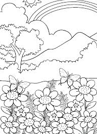 Mountain Coloring Page Pages Print Mountains Waterfall Pics
