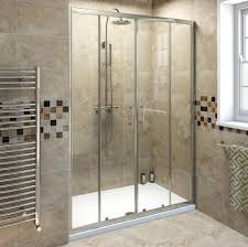 intriguing glass sliding shower door with marble bathroom tiles
