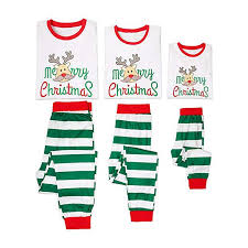 Merry Christmas Matching Family Pyjamas Set Sleepwear Outfits Christmas Dad Mom Kids Baby Pajamas Set