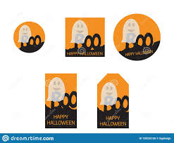 halloween invitations cards halloween tags and cards black and orange ghost set stock