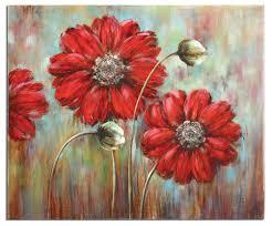 fl wall decor shining stars fl painting on canvas red flower wall art home decor