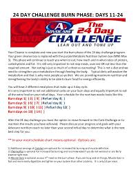 24 Day Challenge Chart Advocare 24 Day Challenge 14 Day Burn Phase