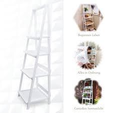 Zri Bamboo Leiterregal Weiss Küchenregal Regal Klappbar Bad Regal Ohne Bohren Aus Holz Innen Wohnzimmer Garten
