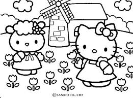 Small Picture Hello kitty picking the flowers coloring pages Hellokidscom