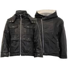 boys leather look pvc jacket kids padded sherpa