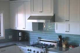 kitchen backsplash blue subway tile. Blue Kitchen Backsplash Tile Soft Subway Porcelain Tiles White Wooden Glossy Wall Mounted Also Lower Cabinets Storage Stainless Chimney