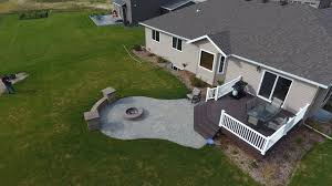 deck patio with fire pit. Deck With Stairs, Patio, Seat Wall, And Fire Pit In West Fargo, Patio