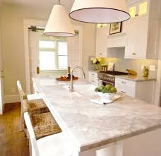 White Pendant Lamps And Granite Countertop For Modern Kitchen Ideas