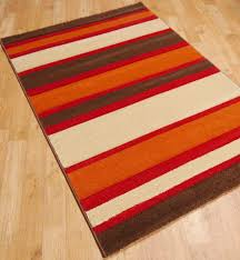 160 x 230cm sensitive stripes rugs in brown red terracotta and cream