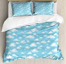 blue and white king size duvet cover set cartoon sky with fluffy clouds clear day baby pattern decorative 3 piece bedding set with 2 pillow shams