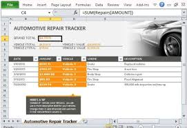 New Xcell Auto Repair Car Repair Tracker Template For Excel 2013