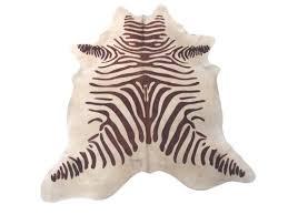 zebra print brown white cowhide rugs