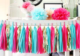 Turquoise Baby Shower Decorations Turquoise Hot Pink Gold Tissue Paper Tassel Garland