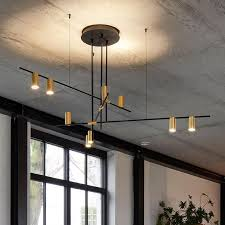 modern nordic gold cylinder metal adjustable black branch 9 light pendant light mid century lighting pendant lights ceiling lights lighting