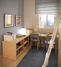 Small Kids Room With L Shaped Study Desk And Library Ladder
