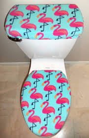 pink flamingo fleece fabric toilet seat cover set bathroom accessories 1 of 1only 0 available see more