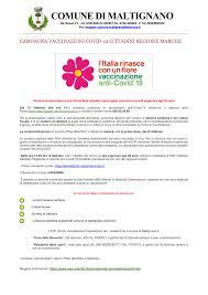 CAMPAGNA VACCINAZIONI COVID - 19 CITTADINI REGIONE MARCHE - Comune di  Maltignano(AP)