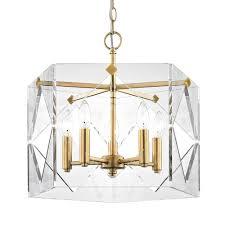 fifth and main lighting pentos 5 light aged br acrylic pendant hd