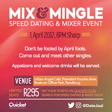 Speed Dating  amp  Mixer Event  Sat  st Apr                     SAST  Urban Angel Cafe  President Fouch   Drive  Boskruin Office Park  Randburg  South Africa Quicket