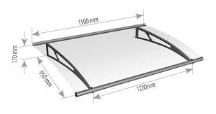 1500mm stainless steel and glass canopy technical drawing