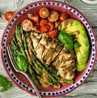 balsamic poached chicken with asparagus and potatoes