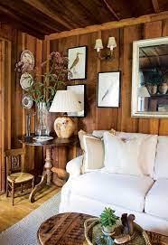 wood paneling living room
