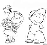 Мальчик с девочкой раскраска для детей