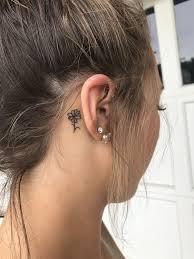 Girl Tattoos Behind Ear Designs Simple Flower Tattoo Behind Ear Behind Ear Tattoos Simple