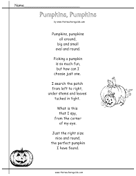reading worksheets from the teacher s guide pumpkins poem