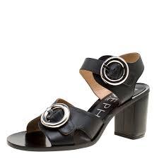 joseph black leather buckle detail block heel sandals size 40 nextprev prevnext