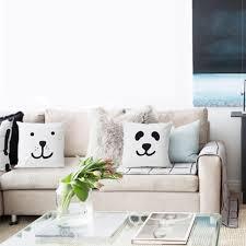 White couch pillows Plans Creative Panda Throw Pillows Minimalist Style White Sofa Cushions Throwpillowshomecom Creative Panda Throw Pillows Minimalist Style White Sofa Cushions