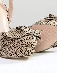 office leopard print. Office Show Leopard Print Bow Platform Heeled Sandals Textile (Womens) A84q9478 -