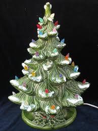 Retro Vintage Ceramic Tabletop Christmas Tree Electric LightsCeramic Tabletop Christmas Tree With Lights