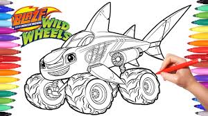 Blaze Moster Machines Wild Wheels Shark Blaze Coloring Pages