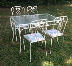 white iron garden furniture. Attractive Outdoor Furniture Wrought Iron Furniture: Stylish Garden Rectangular Glass Table Ad White Chairs